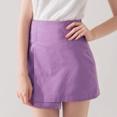 AIR SPACE 下擺不規則素面短裙(紫)