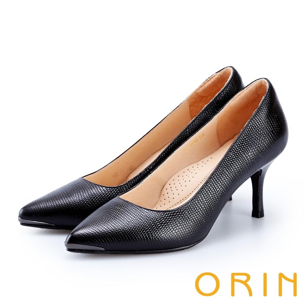 ORIN 底台鑲金壓紋牛皮高跟鞋 黑色