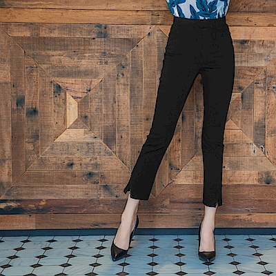 芭蕾舞褲-蕾絲開衩設計彈性修身長褲-OB大尺碼