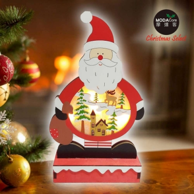 交換禮物-摩達客 木質製彩繪聖誕老公公造型聖誕夜燈擺飾 (電池燈)