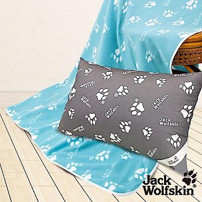 Jack Wolfskin飛狼 抗菌枕、藍綠四季毯超值組