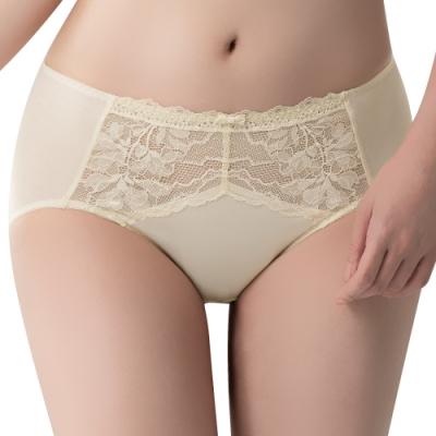 思薇爾 冰雪女王系列M-XXL蕾絲中腰三角內褲(清透黃)