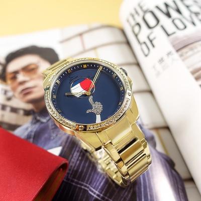 TOMMY HILFIGER / 限量款 怪物奇兵聯名 晶鑽時尚 不鏽鋼手錶 藍色 43mm