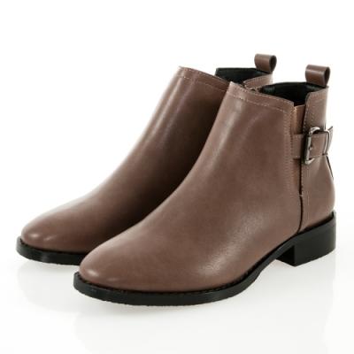 JMS-個性潮流側扣環鬆緊拼接短靴-棕色