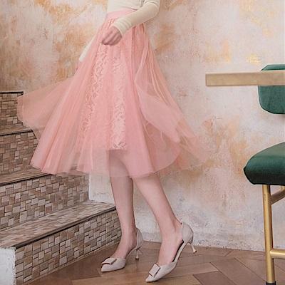 純色蕾絲網紗腰鬆緊中長裙-OB大尺碼