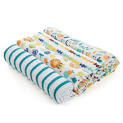 美國aden+anais新生兒外出包巾(4入)-彩色叢林AA-S3118