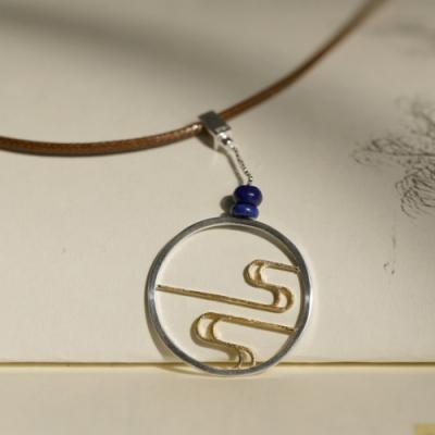 東方美學浮雲青金石磨砂蠟繩純銀項鍊-設計所在