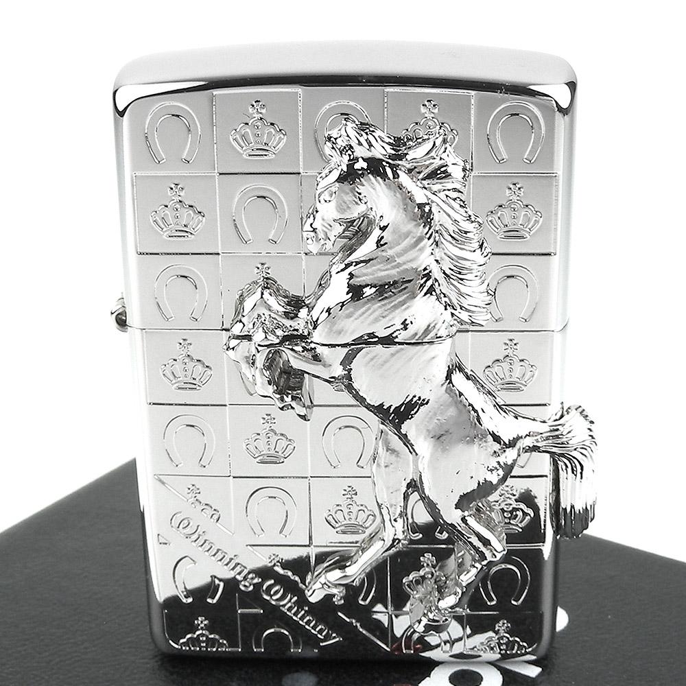 ZIPPO 日系~Winning Whinny-皇冠勝利之馬-立體金屬貼飾打火機