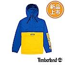 Timberland 男款藍黃拼接防風連帽外套