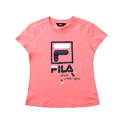 FILA KIDS 童短袖純棉圓領上衣-粉色 5TET-4912-PK