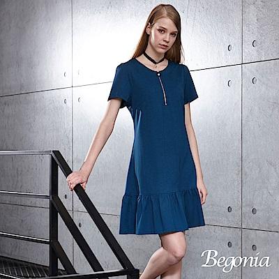 Begonia 圓領拉鍊荷葉襬洋裝(共兩色)