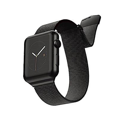 X-doria Apple Watch 42/44mm 米蘭尼斯皮革金屬錶帶 曜石黑