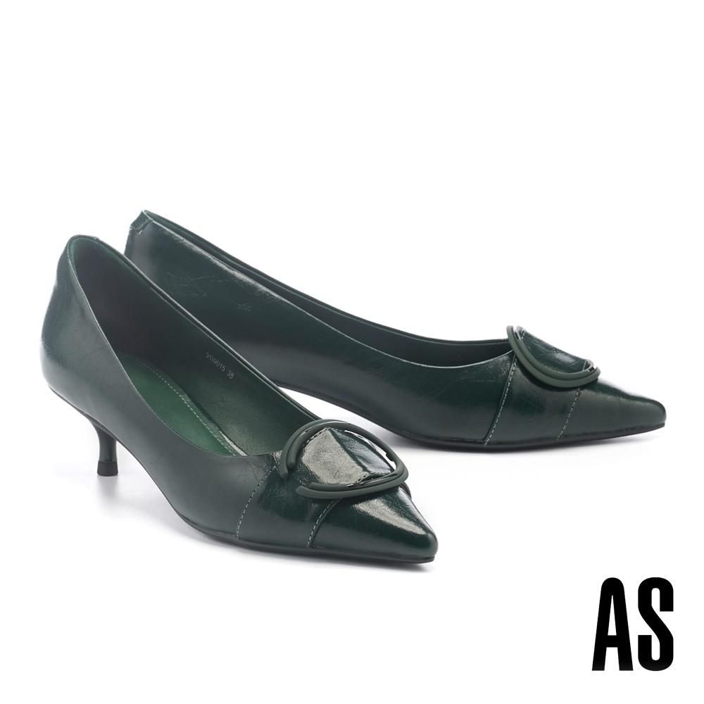 高跟鞋 AS 新氣質時尚大圓釦牛皮尖頭高跟鞋-綠