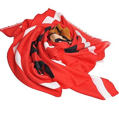 MOSCHINO TOY小熊LOGO義大利製設計莫代爾混克什米爾披肩/圍巾(紅)