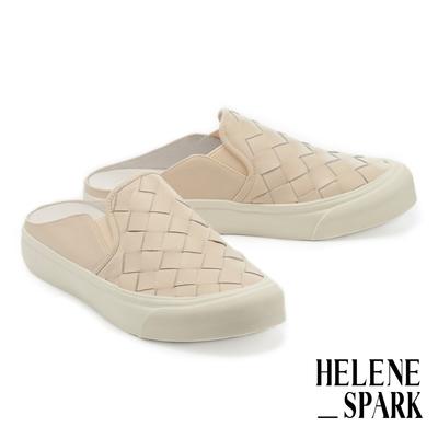 拖鞋 HELENE SPARK 率性日常全真皮編織厚底休閒拖鞋-米