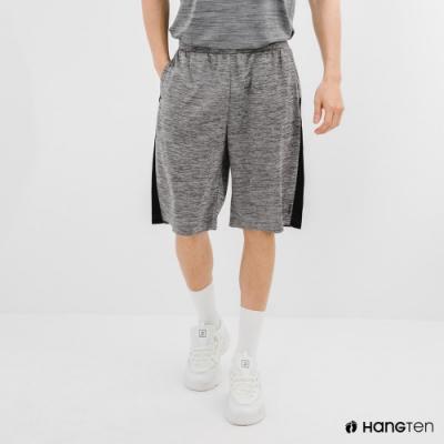 Hang Ten-男裝-恆溫多功能-REGULAR FIT標準鳥眼吸排紗涼感抗菌除臭撞色運動短褲-灰色