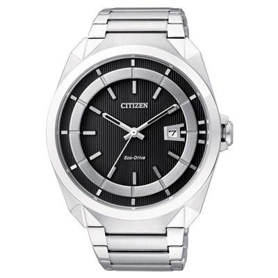 CITIZEN 率性潮流光動能經典腕錶-銀黑-43mm