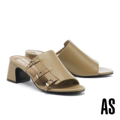 拖鞋 AS 簡約風個性異材質拼接側空帶釦全真皮高跟拖鞋-綠