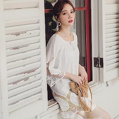 高含棉雕花鏤空純色長版上衣-OB嚴選