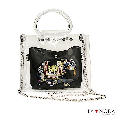 La Moda 大象繡花小巧透明手提鍊條子母包(黑)