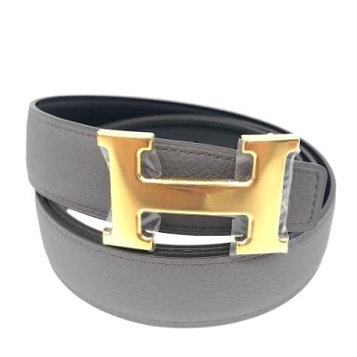 HERMES 金H 金屬釦小牛皮雙面腰帶(32mm/灰x黑)