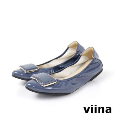 viina 尖頭鏡面烤漆金邊摺疊鞋-藍灰