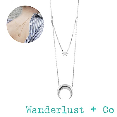 Wanderlust+Co新月星星雙層項鍊 - 銀色