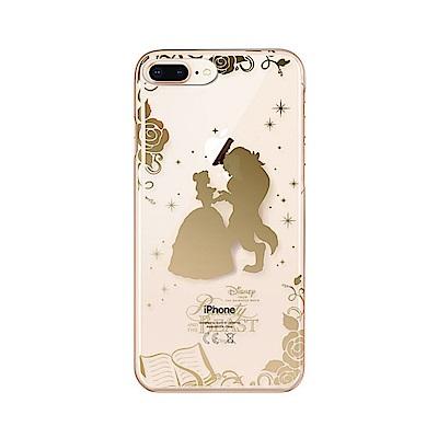 iPhone 8/7 Plus 海外限定 迪士尼 PC金箔透明 硬殼 5.5吋-美女與野獸