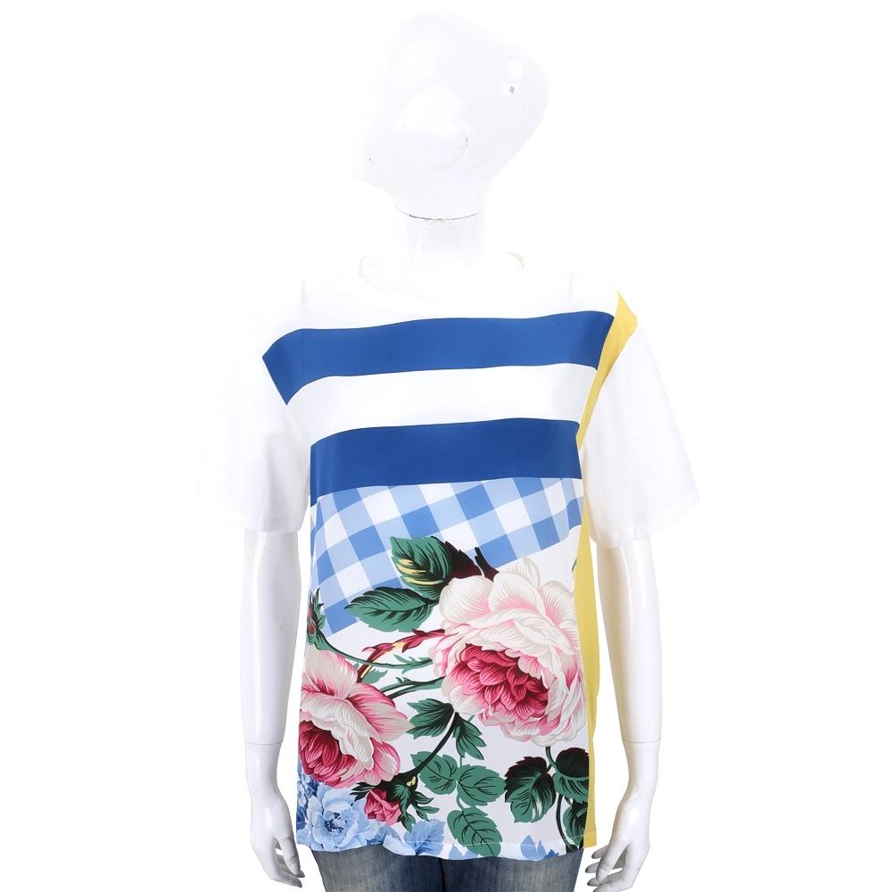 Max Mara-WEEKEND 幾何色塊雪紡紗棉拼接白色T恤
