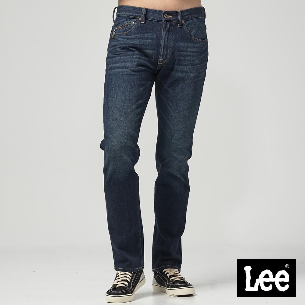 Lee 中腰舒適小直筒牛仔褲/101+中深藍色洗水