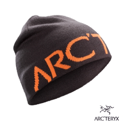 Arcteryx 始祖鳥 Logo 保暖針織羊毛毛帽 狄馬褐/歡樂橘