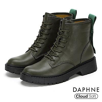 達芙妮DAPHNE 短靴-潮流個性標語綁帶圓頭低跟短靴-橄欖綠