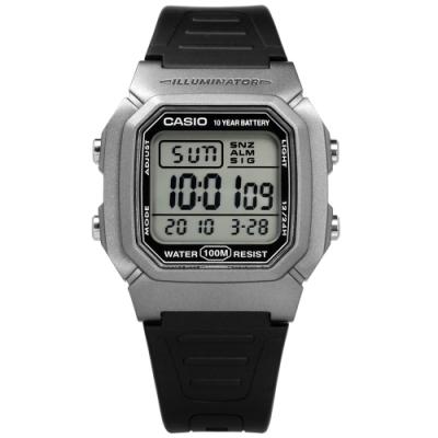 CASIO 卡西歐 兩地時間 計時 電子橡膠手錶 灰黑色 W-800HM-7A 37mm