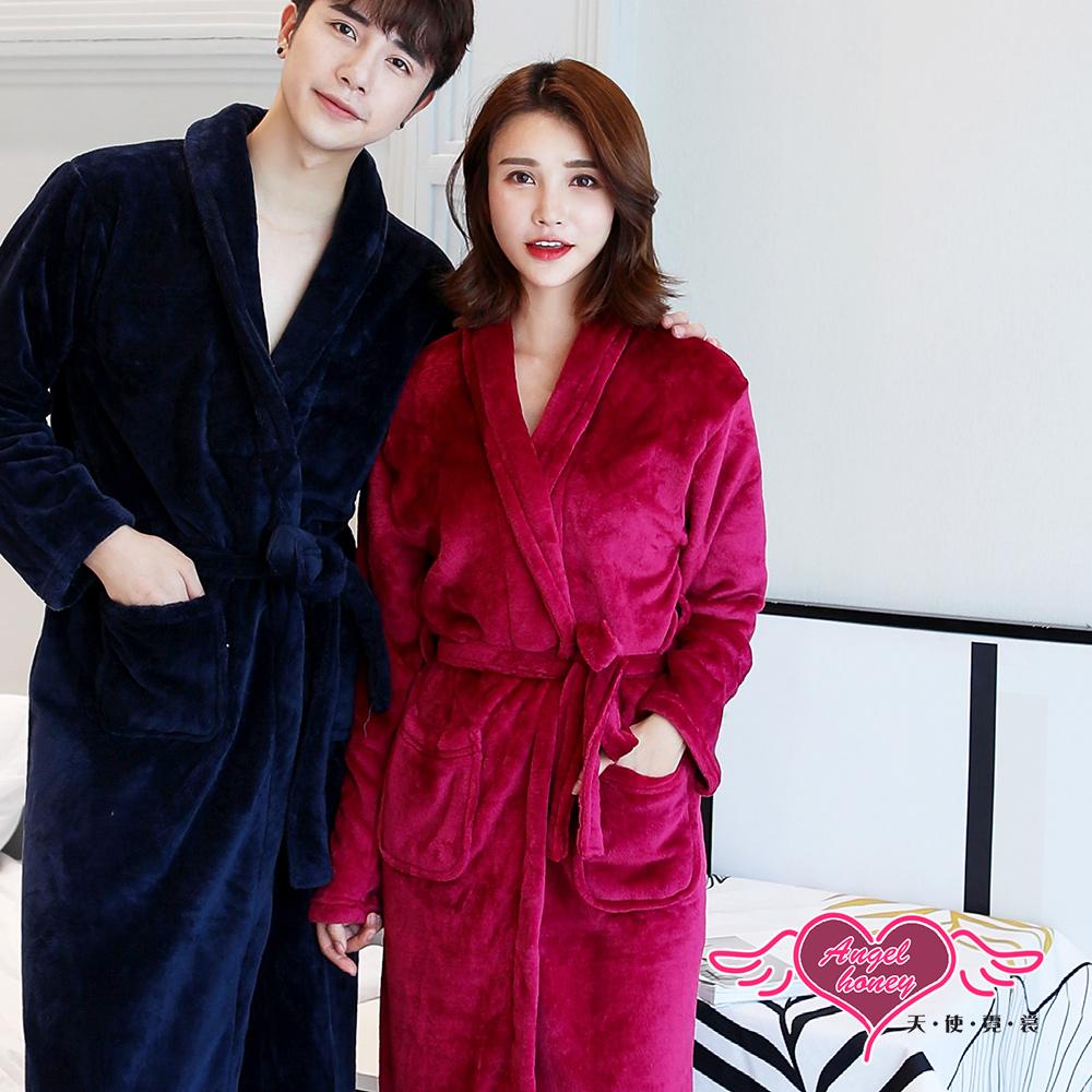 保暖睡袍 暖心觸碰 素色法蘭絨一件式綁帶睡衣(玫紅F) AngelHoney天使霓裳