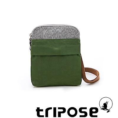 tripose 漫遊系列 岩紋x微皺尼龍護照斜背包 草綠