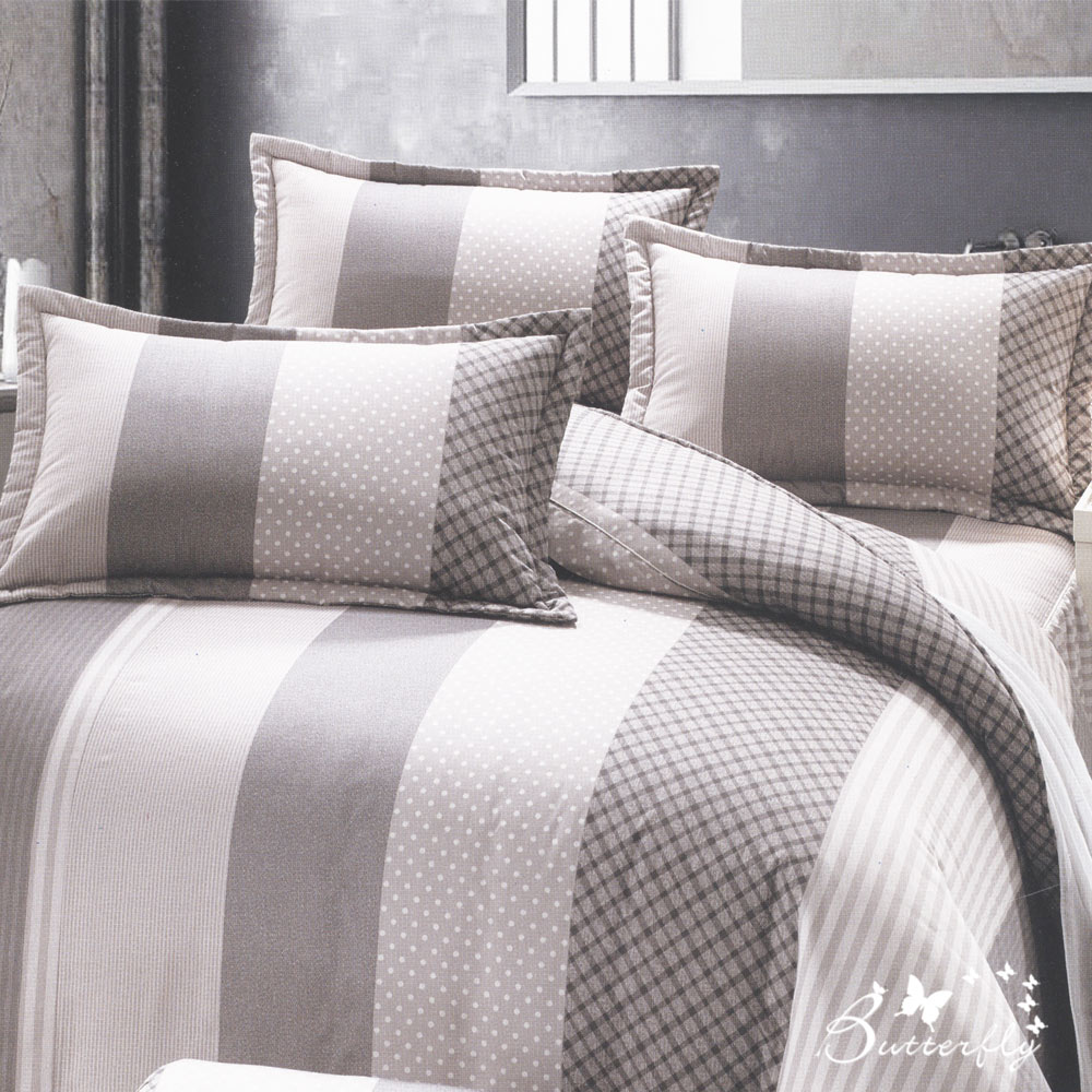 BUTTERFLY-台製40支紗純棉-雙人6x7尺鋪棉兩用被-英倫風情-灰