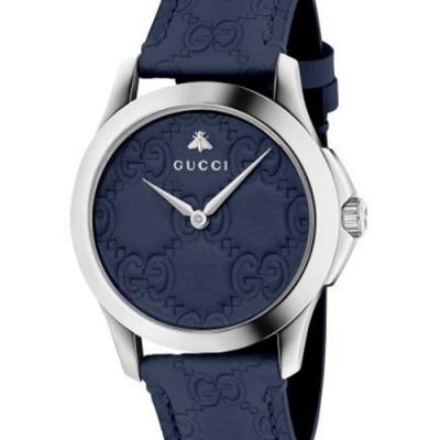 GUCCI 古馳 G-Timeless 雙G皮紋手錶(YA1264032)x藍x38mm