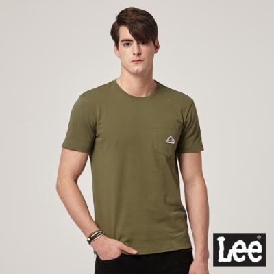 Lee 短袖T恤 口袋LOGO織標 -男款 -墨綠