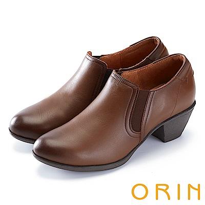 ORIN 中性英倫風必備 雙色打蠟牛皮粗中跟鞋-棕色