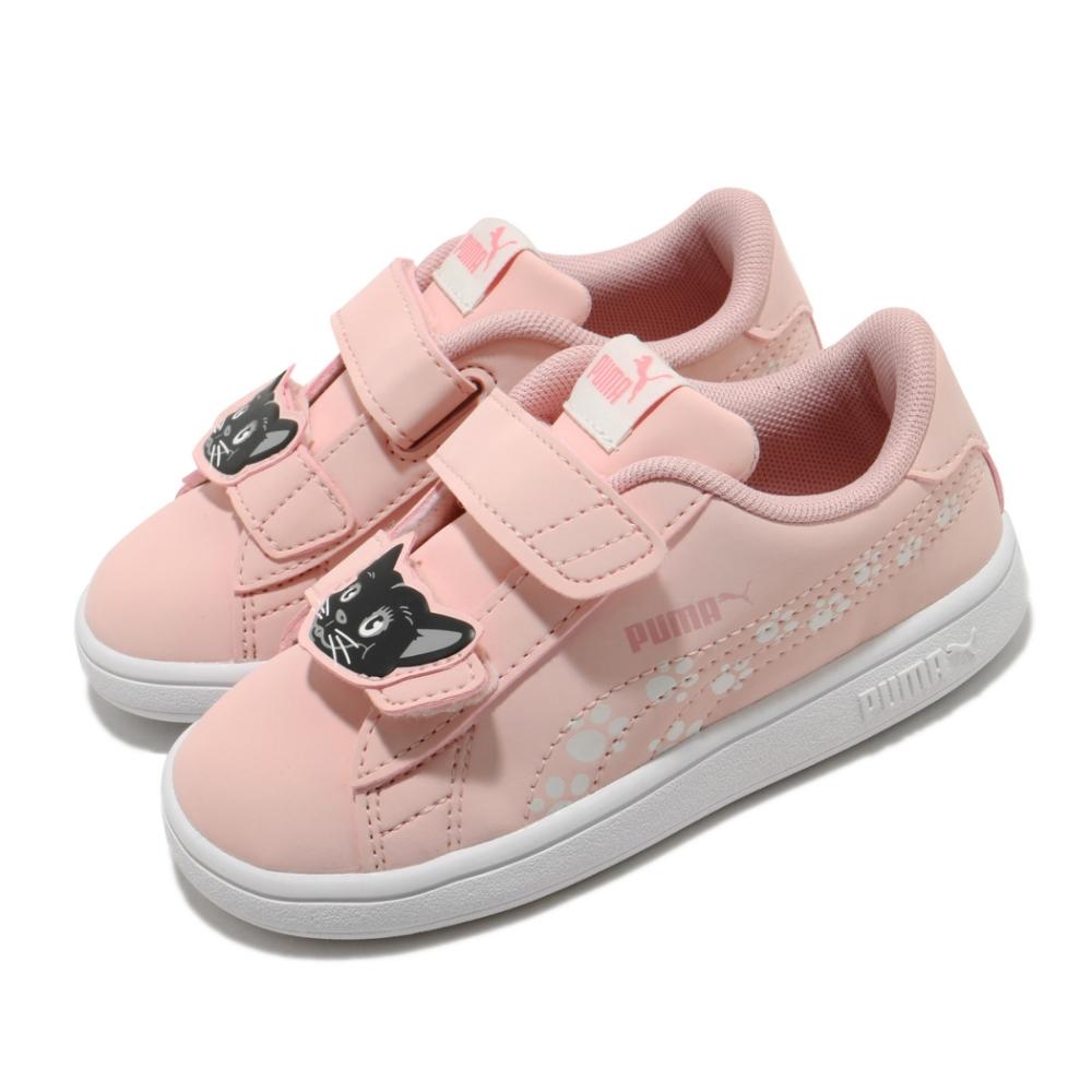 Puma 休閒鞋 Smash V2 運動 童鞋 基本款 魔鬼氈 動物圖案 穿搭 小童 粉 白 37318602