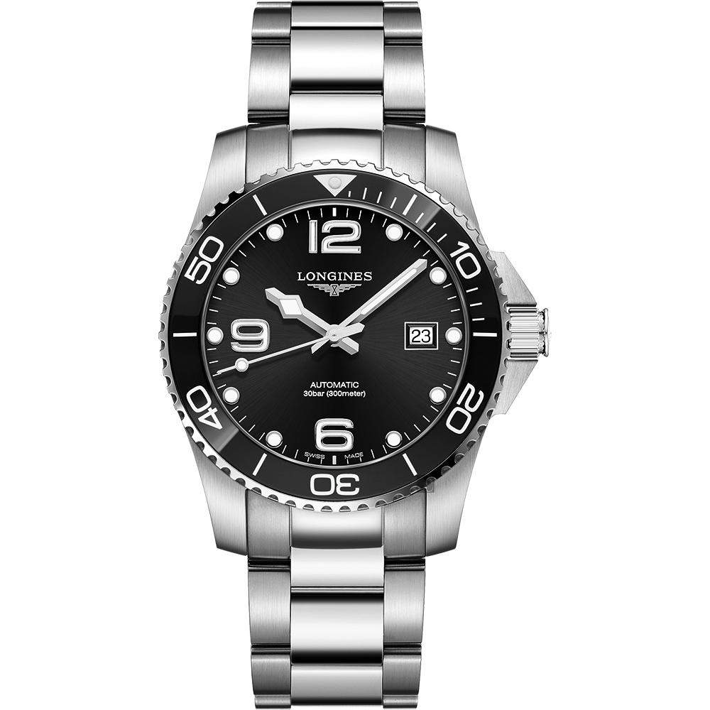 LONGINES 浪琴 深海征服者浪鬼陶瓷潛水機械錶-黑x銀/43mm