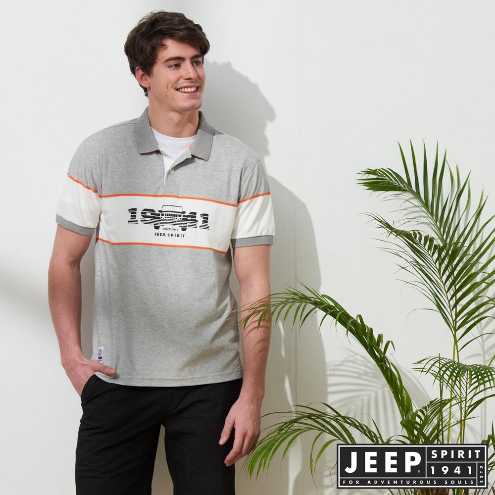 JEEP 時尚造型迷彩短袖POLO衫-灰色