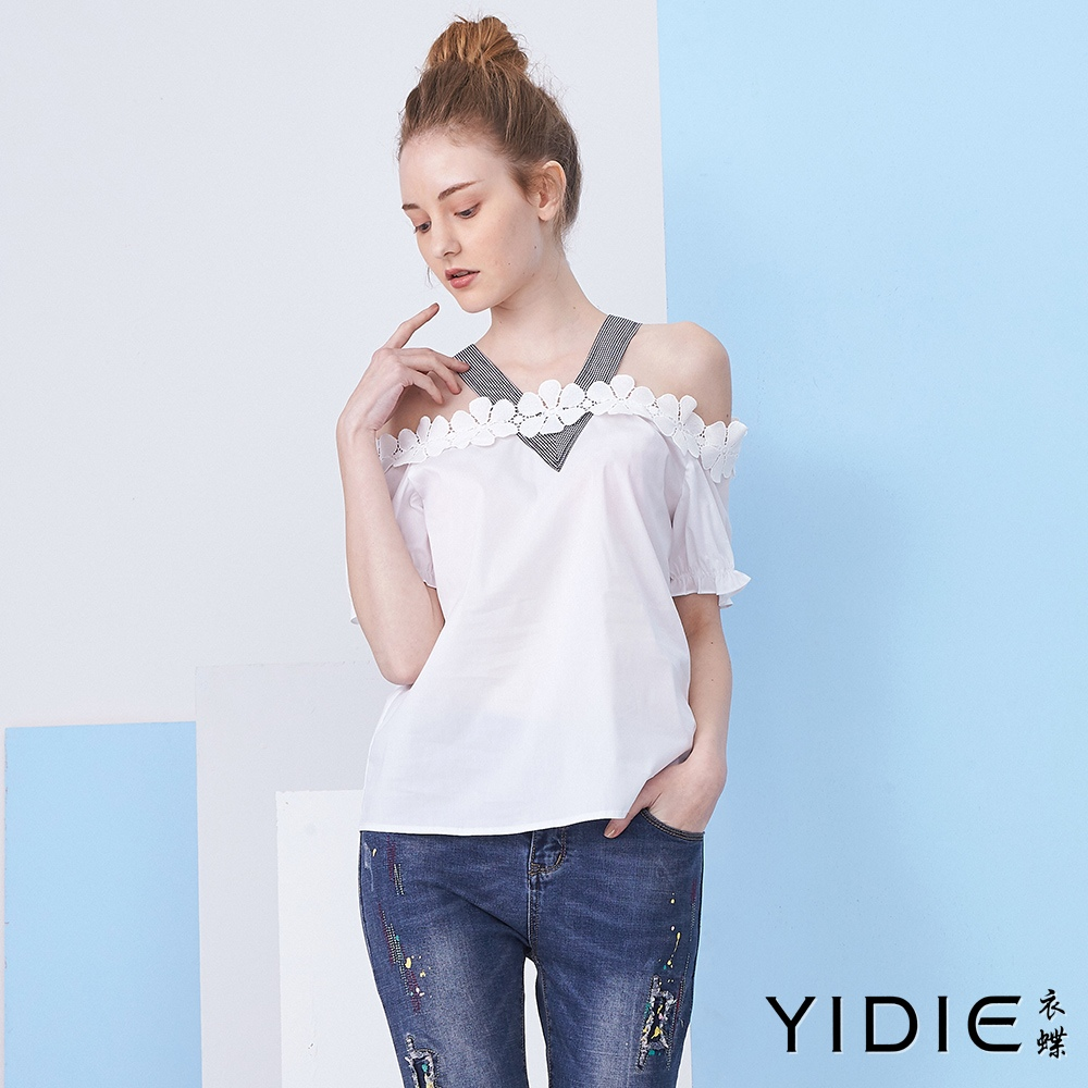 【YIDIE衣蝶】棉質素色花邊一字領肩帶上衣