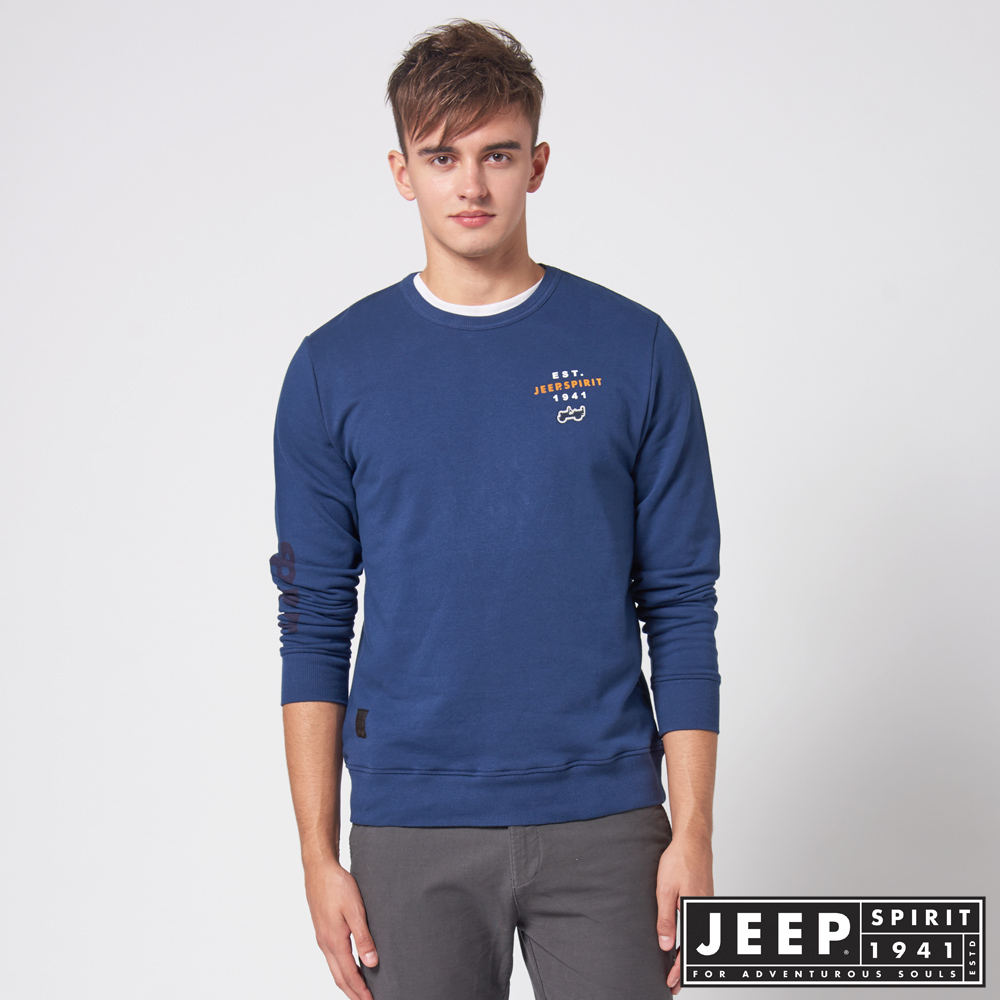 JEEP 極簡造型百搭休閒長袖TEE -藍色