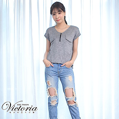 Victoria 純棉合身個性破小直筒褲-女-中藍