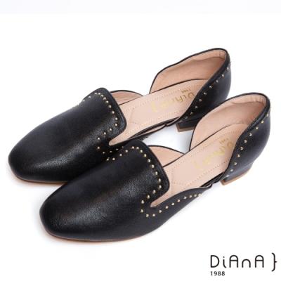 DIANA 個性低調-柔軟羊皮點綴鉚釘微鏤空低跟跟鞋-黑