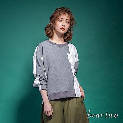 beartwo 條紋異材質拼接前短後長造型上衣(二色)