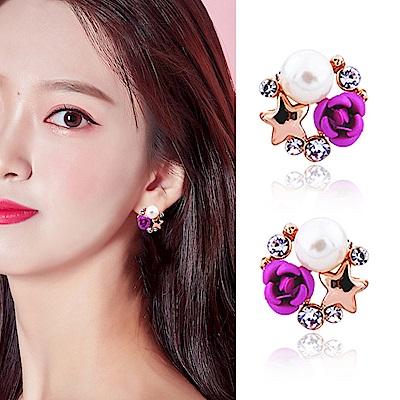 梨花HaNA  無耳洞韓國紫色玫瑰驚豔耳環夾式