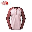 The North Face北面女款紅色吸濕透氣長袖T恤