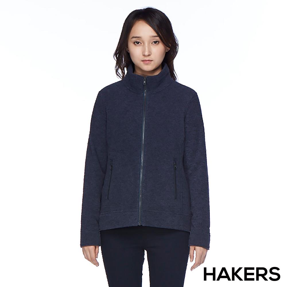 【HAKERS 哈克士】女款 保暖刷毛外套(石墨藍)